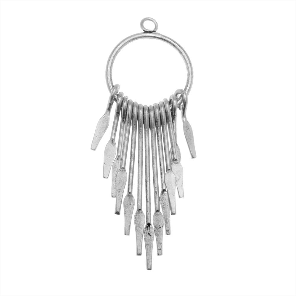 Zola Elements Pendant, Graduated Paddle Set On Ring 20x58mm, Antiqued Silver Tone