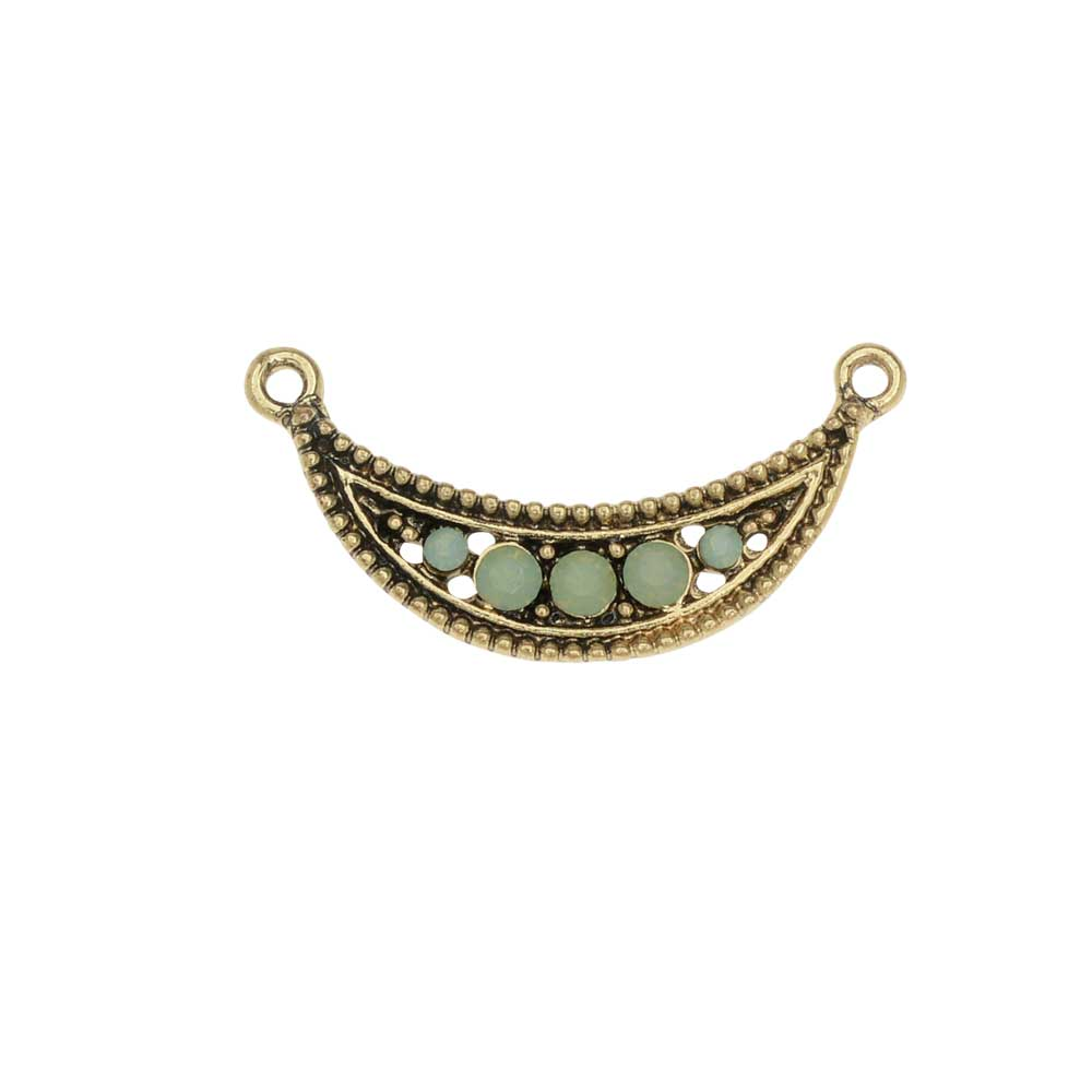 Zola Elements Pendant Link, Crescent Focal with Rhinestones 30x15mm , 1 Piece, Antiqued Gold Tone