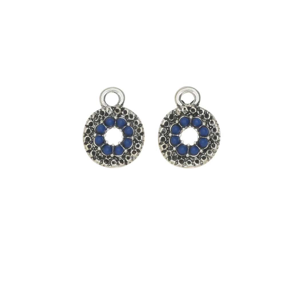 Zola Elements Charm, Sky Blue Textured Coin 10x13mm, 2 Pieces, Antiqued Silver Tone