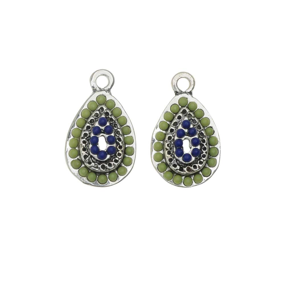 Zola Elements Charm, Poolside Domed Teardrop 11x19mm, 2 Pieces, Antiqued Silver Tone
