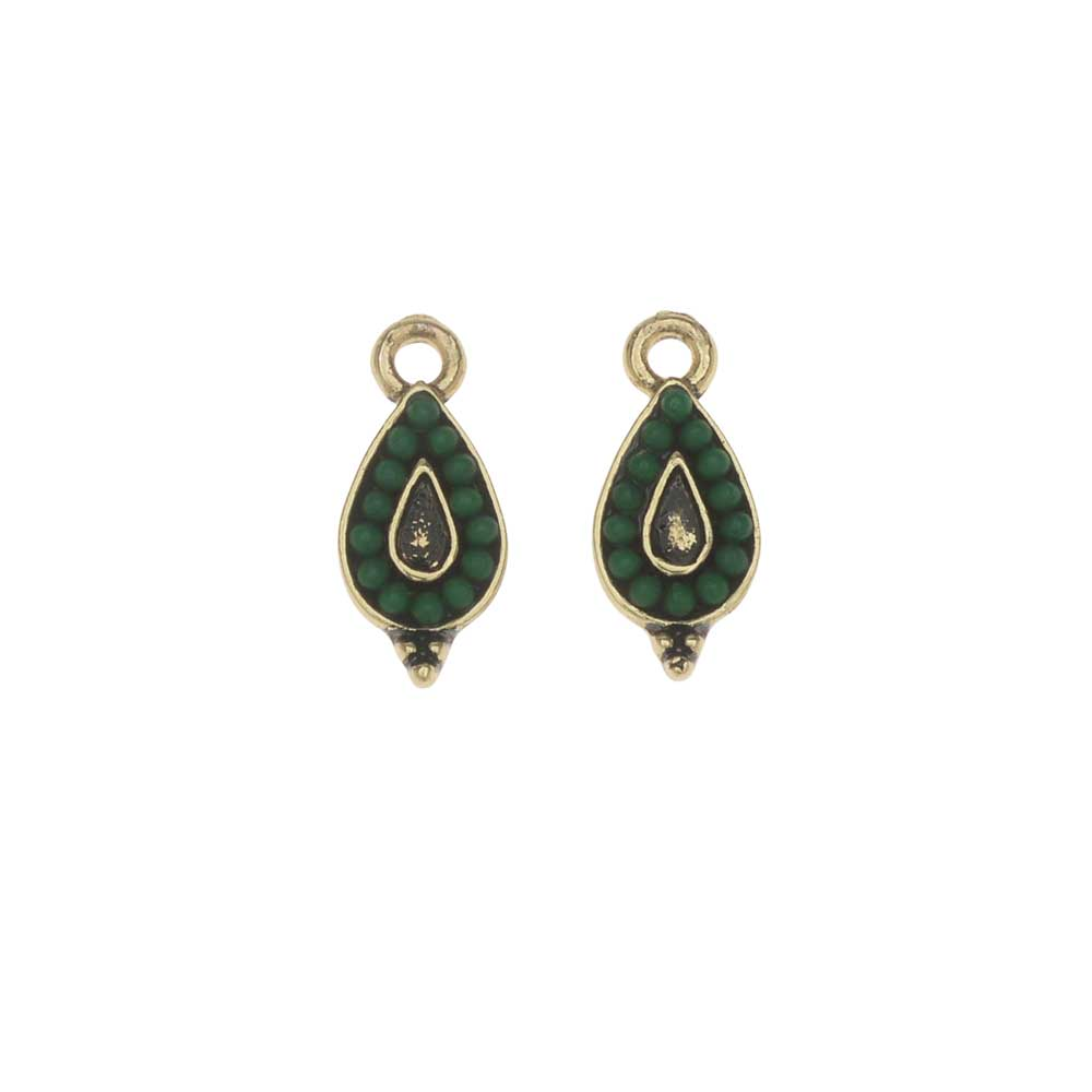 Zola Elements Charm, Evergreen Teardrop 7x15mm, 2 Pieces, Antiqued Gold Tone