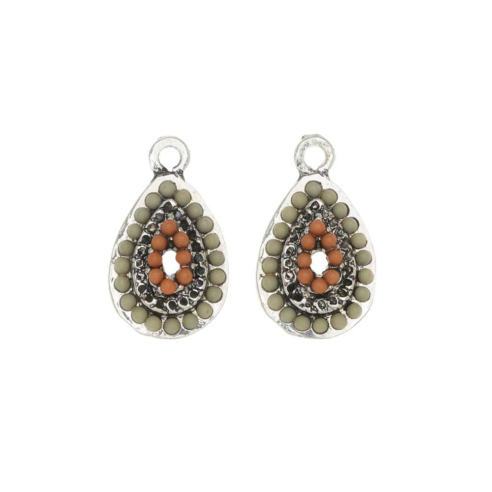 Zola Elements Charm, Clay Domed Teardrop 11x19mm, 2 Pieces, Antiqued Silver Tone