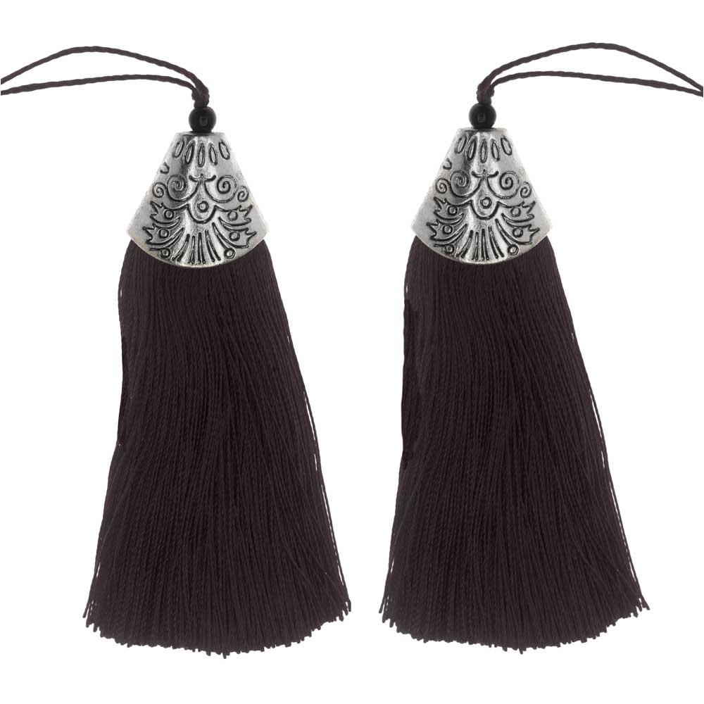 Zola Elements Tassel with Decorative End Cap 80mm, 2 Pieces, Antiqued Silver and Brown