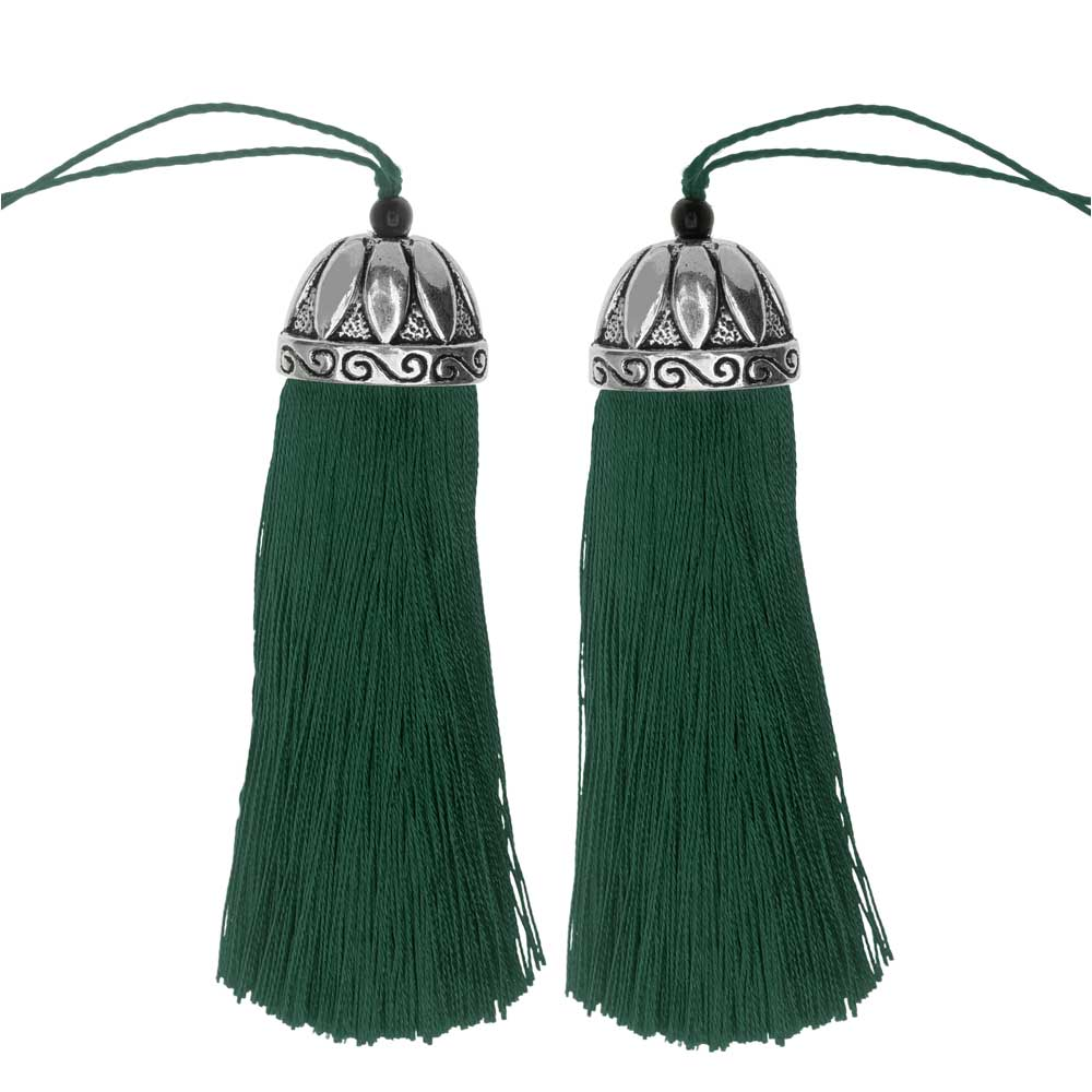 Zola Elements Tassel with Decorative Bell Cap 80mm, 2 Pieces, Antiqued Silver and Dark Green