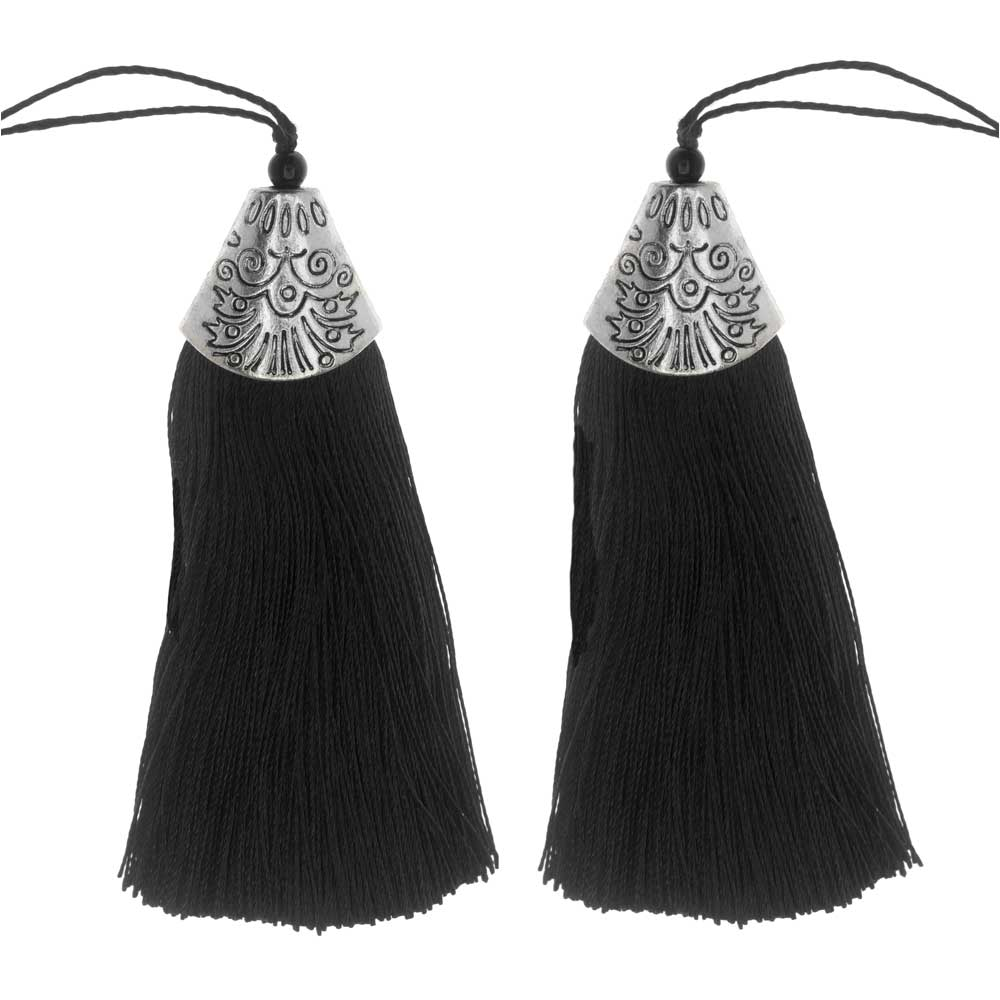Zola Elements Tassel with Decorative End Cap 80mm, 2 Pieces, Antiqued Silver and Black
