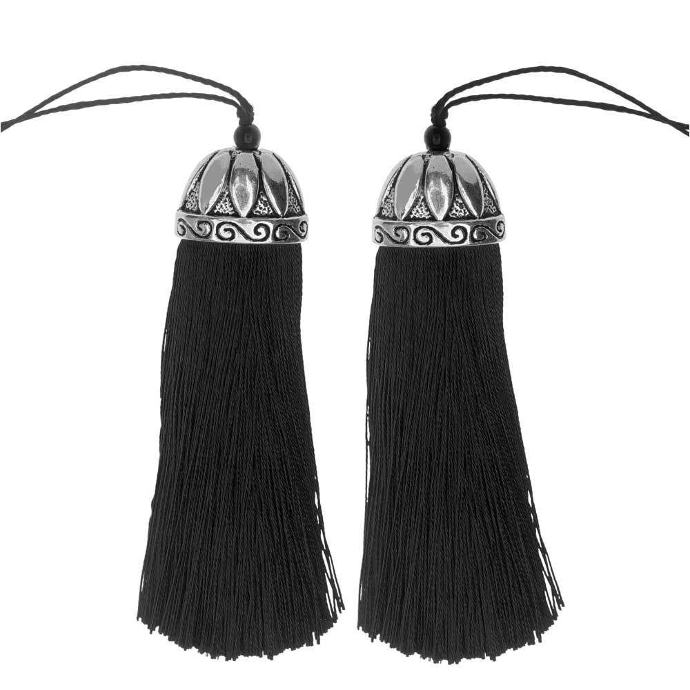 Zola Elements Tassel with Decorative Bell Cap 80mm, 2 Pieces, Antiqued Silver and Black