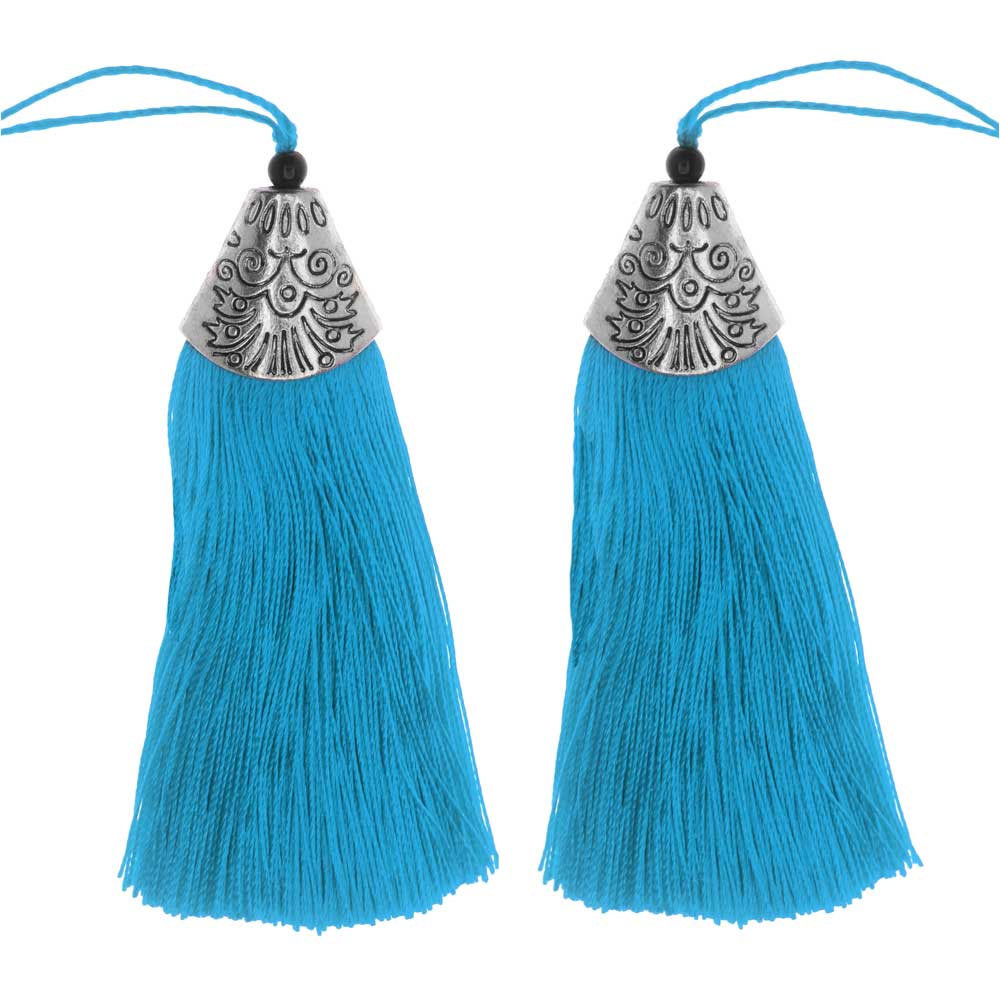 Final Sale - Zola Elements Tassel with Decorative End Cap 80mm, 2 Pieces, Antiqued Silver and Capri Blue