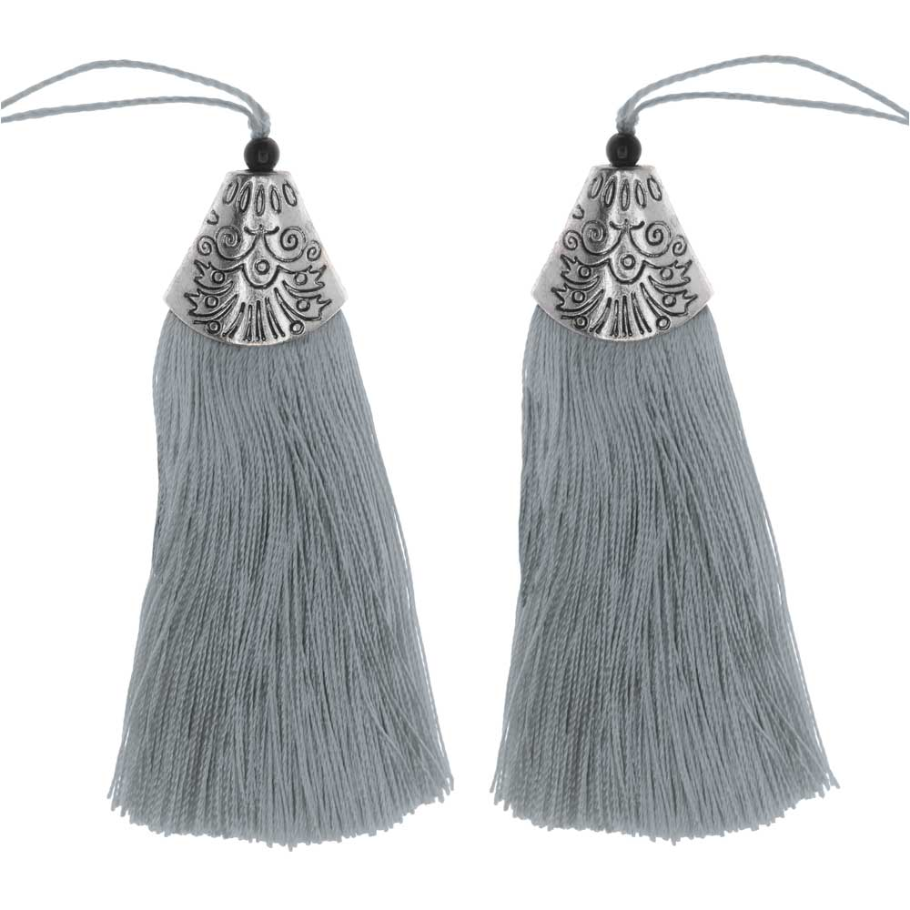 Zola Elements Tassel with Decorative End Cap 80mm, 2 Pieces, Antiqued Silver and Grey