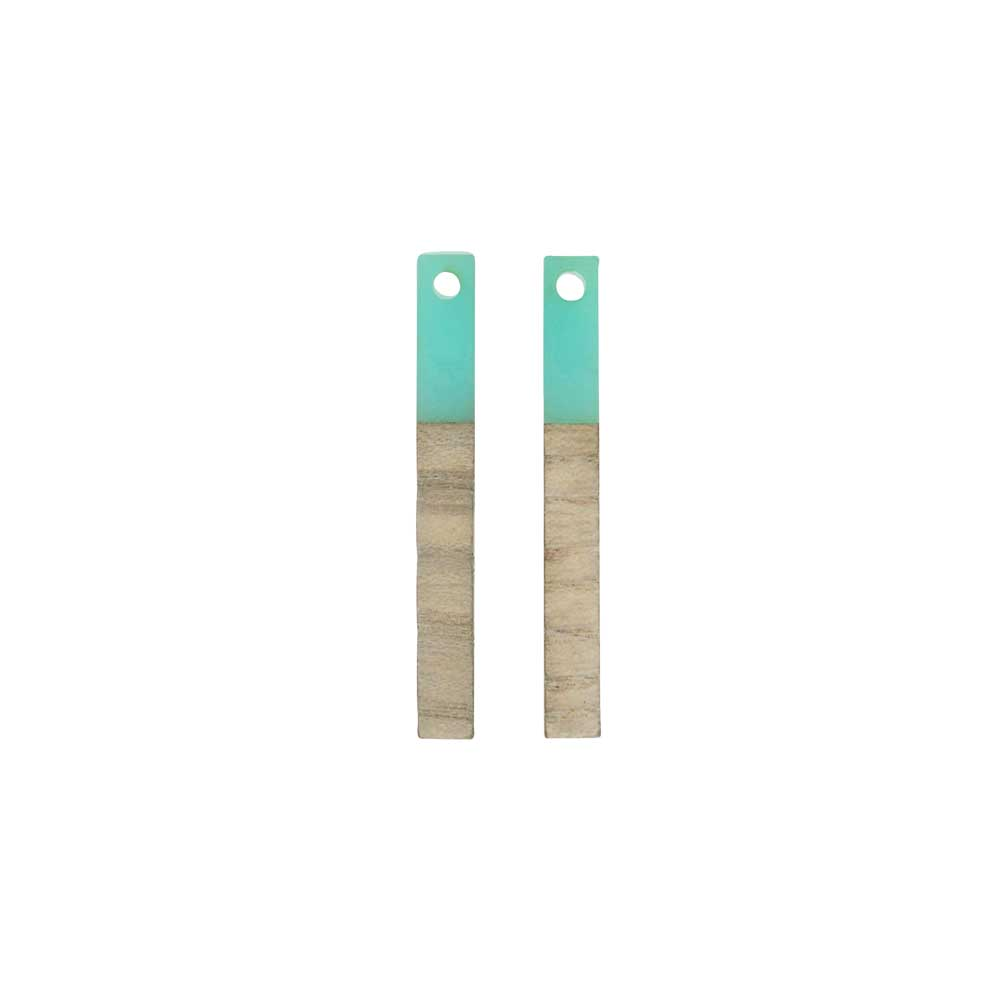 Zola Elements Wood & Resin Pendant, Stick Drop 3.5x30mm, 2 Pieces, Sea Green