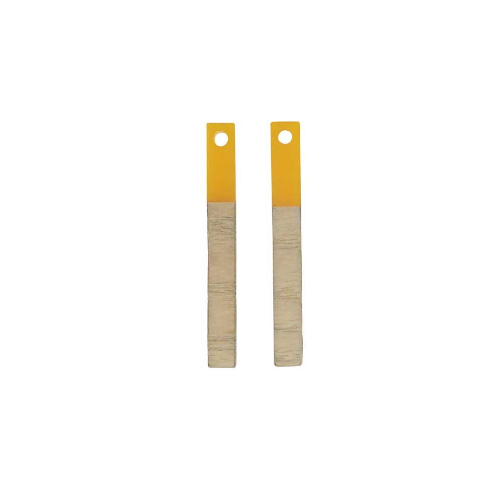 Zola Elements Wood & Resin Pendant, Stick Drop 3.5x30mm, 2 Pieces, Saffron Yellow