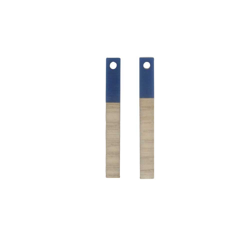 Zola Elements Wood & Resin Pendant, Stick Drop 3.5x30mm, 2 Pieces, Indigo Blue