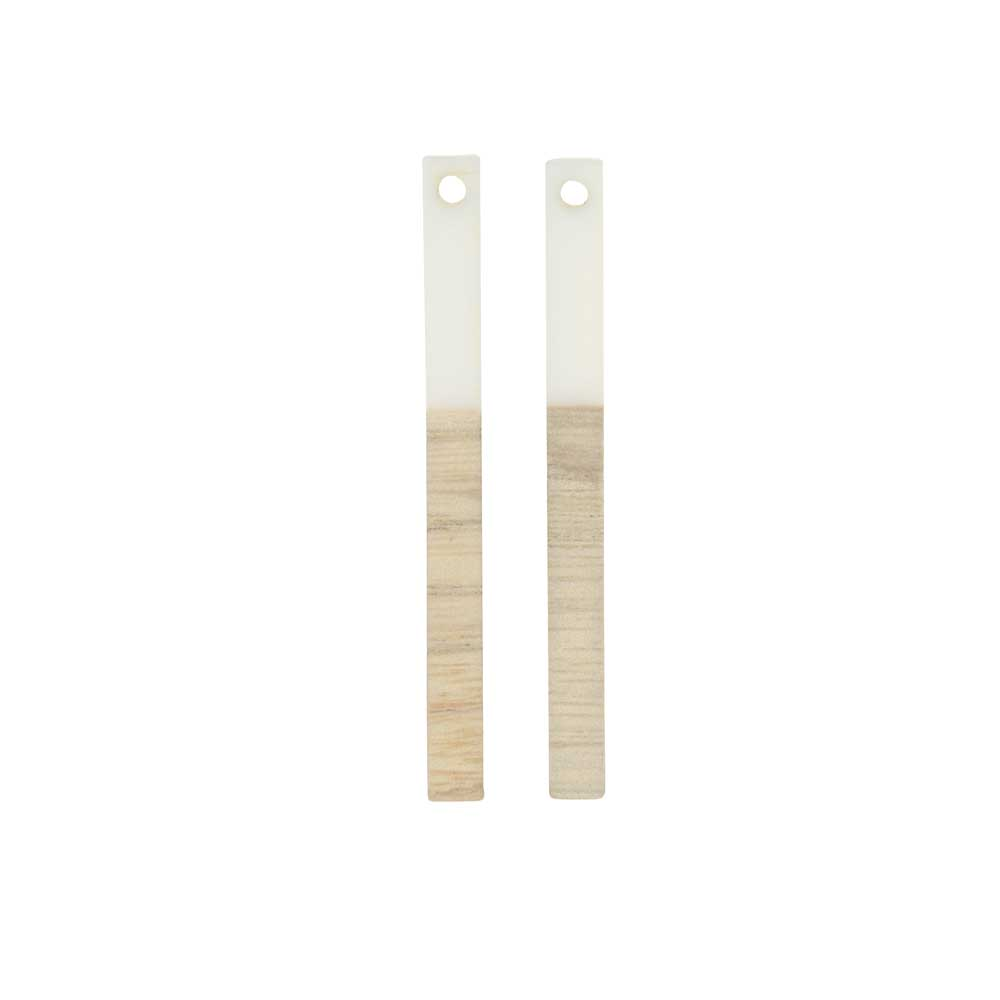 Zola Elements Wood & Resin Pendant, Stick Drop 3.5x40mm, 2 Pieces, Alabaster