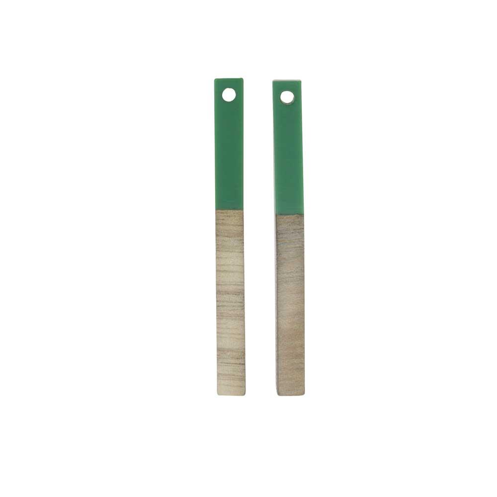Zola Elements Wood & Resin Pendant, Stick Drop 3.5x40mm, 2 Pieces, Vintage Turquoise