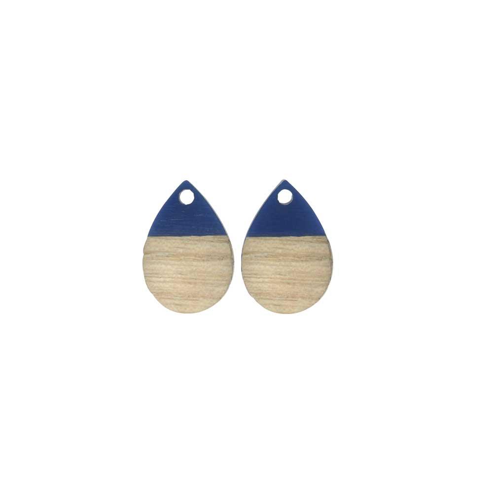 Zola Elements Wood & Resin Pendant, Teardrop 11x17mm, 2 Pieces, Indigo Blue