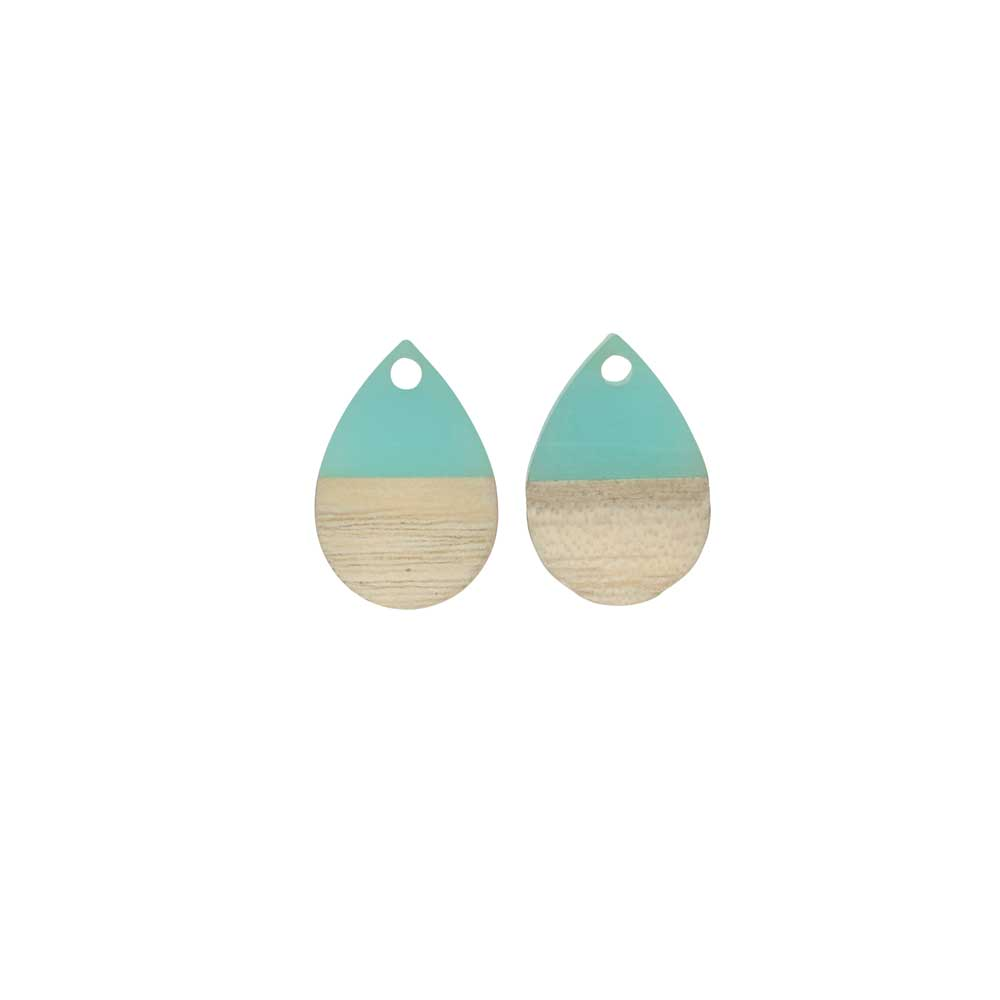 Zola Elements Wood & Resin Pendant, Teardrop 11x17mm, 2 Pieces, Sea Green