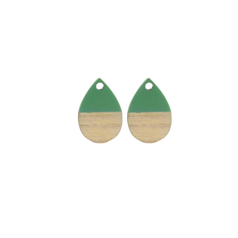 Zola Elements Wood & Resin Pendant, Teardrop 11x17mm, 2 Pieces, Vintage Turquoise