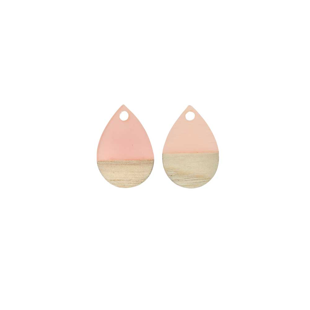 Zola Elements Wood & Resin Pendant, Teardrop 11x17mm, 2 Pieces, Translucent Blossom Pink