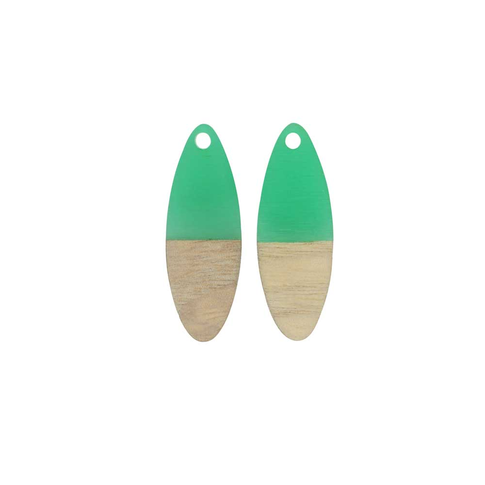 Zola Elements Wood & Resin Pendant, Marquise 10x28mm, 2 Pieces, Emerald Green