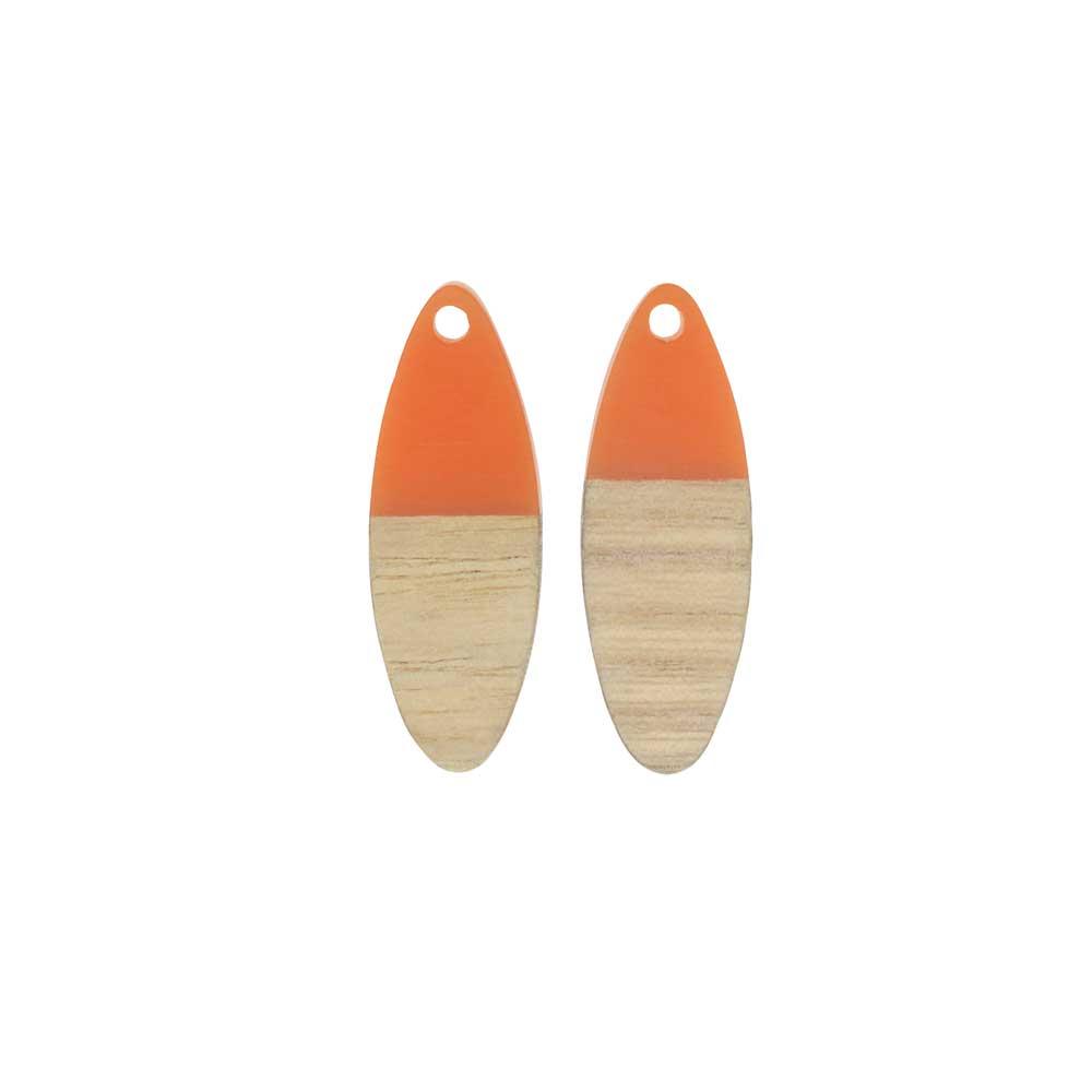 Zola Elements Wood & Resin Pendant, Marquise 10x28mm, 2 Pieces, Tangerine Orange