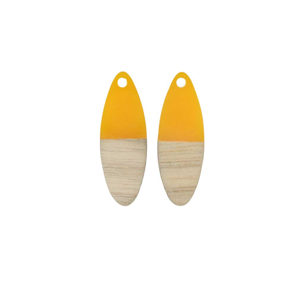 Zola Elements Wood & Resin Pendant, Marquise 10x28mm, 2 Pieces, Saffron Yellow