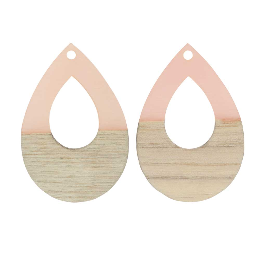 Zola Elements Wood & Resin Pendant, Open Teardrop 25x38mm, 2 Pieces, Translucent Blossom Pink