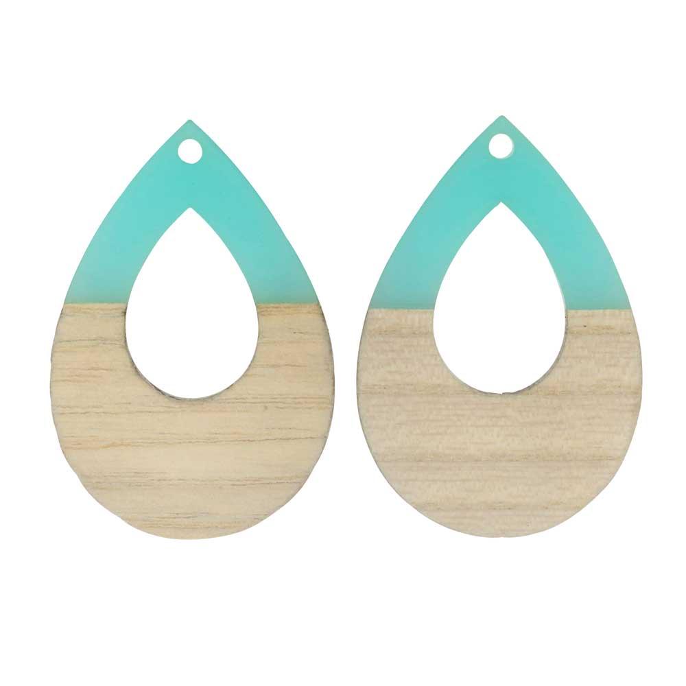 Zola Elements Wood & Resin Pendant, Open Teardrop 25x38mm, 2 Pieces, Sea Green
