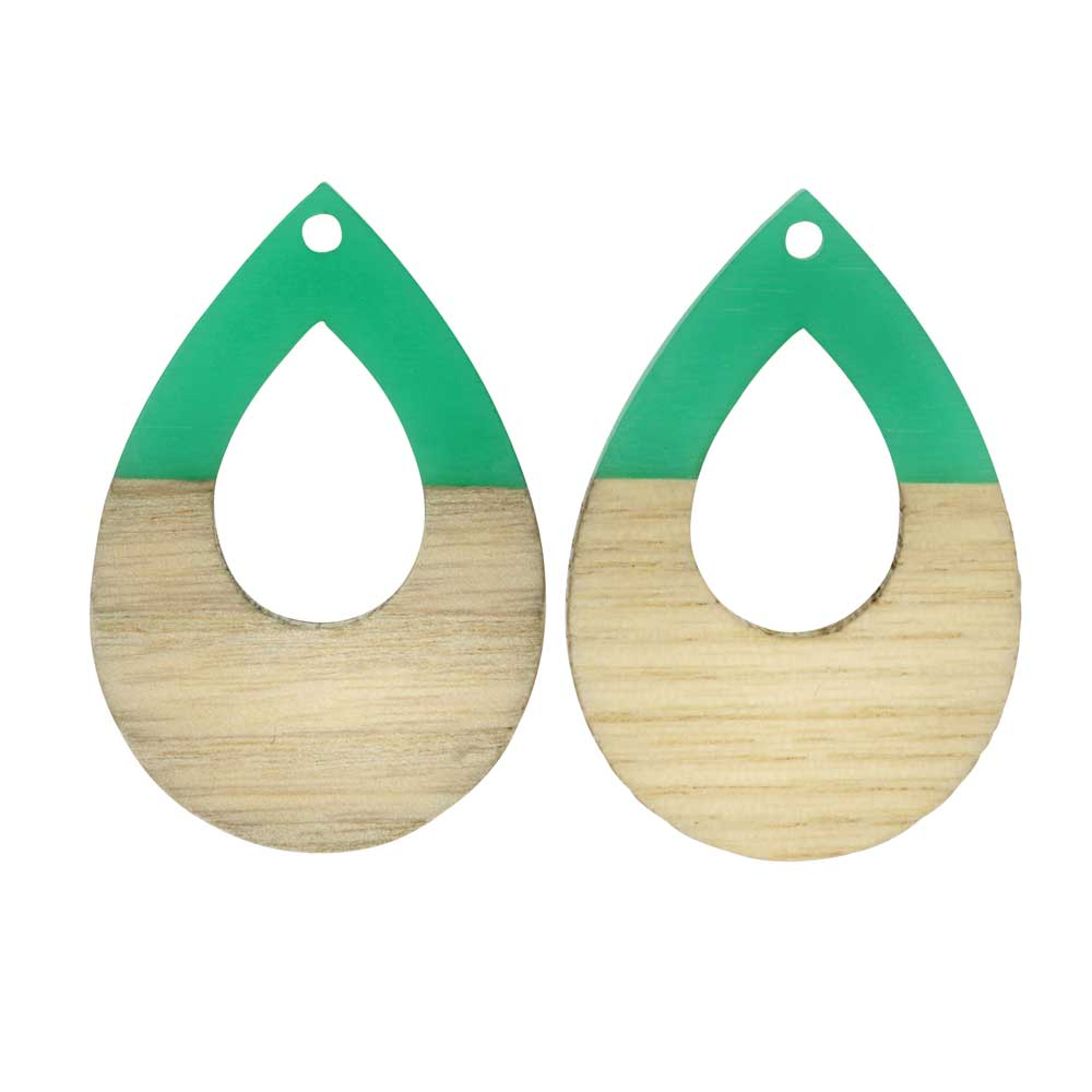 Zola Elements Wood & Resin Pendant, Open Teardrop 25x38mm, 2 Pieces, Emerald Green