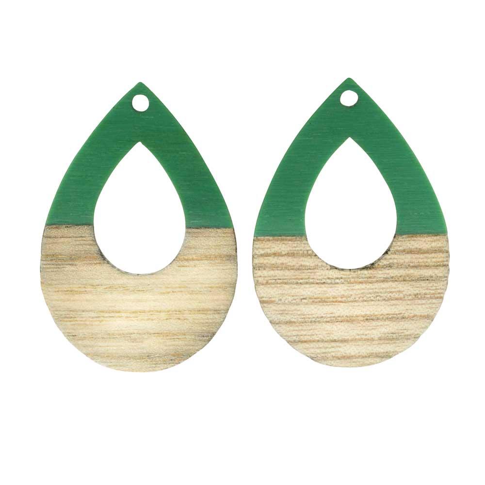 Zola Elements Wood & Resin Pendant, Open Teardrop 25x38mm, 2 Pieces, Vintage Turquoise