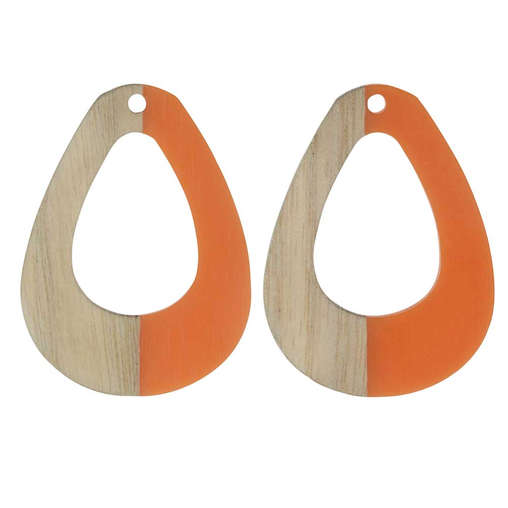 Zola Elements Wood & Resin Pendant, Open Teardrop 28x38mm, 2 Pieces, Tangerine Orange