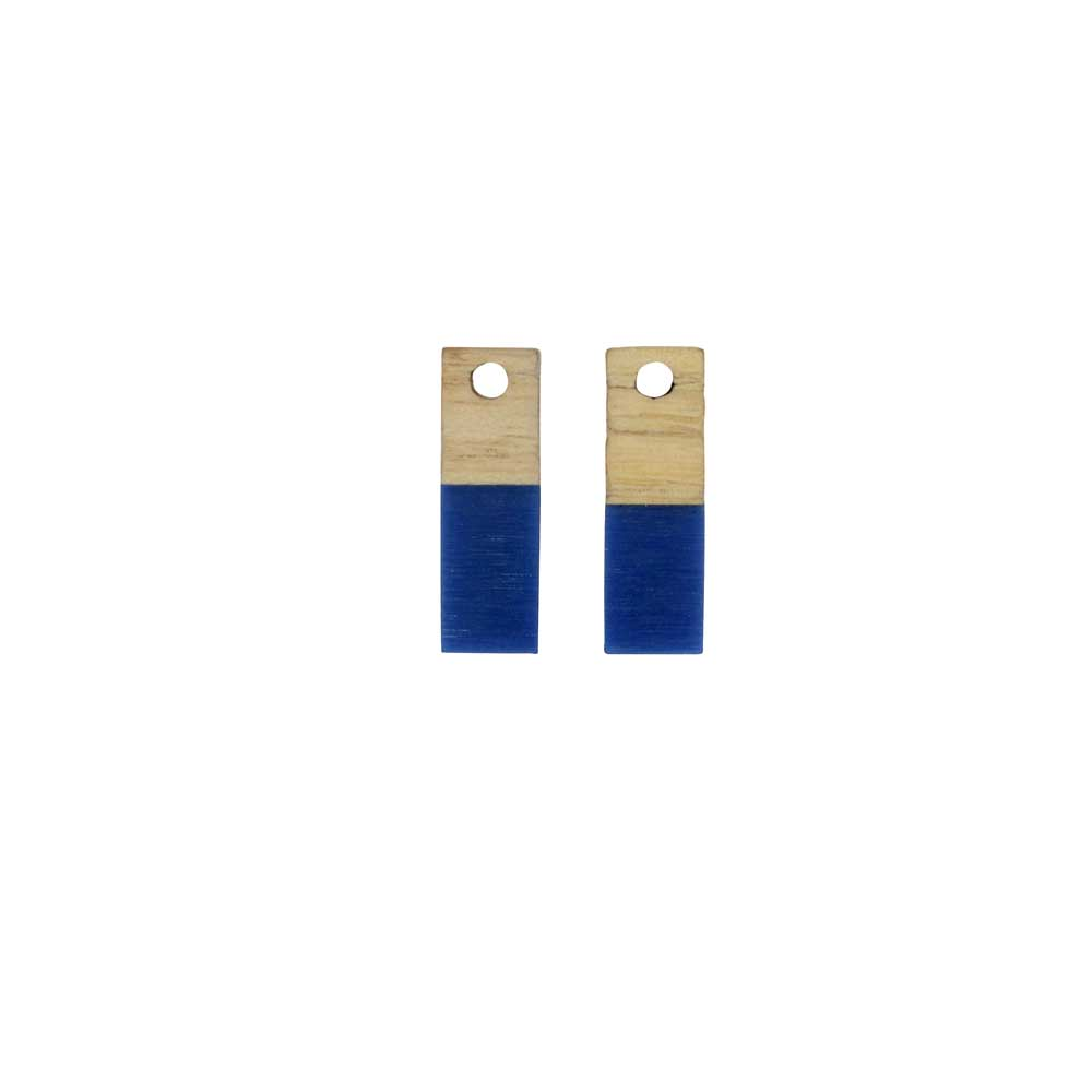 Zola Elements Wood & Resin Pendant, Rectangle 6x17mm, 2 Pieces, Indigo Blue
