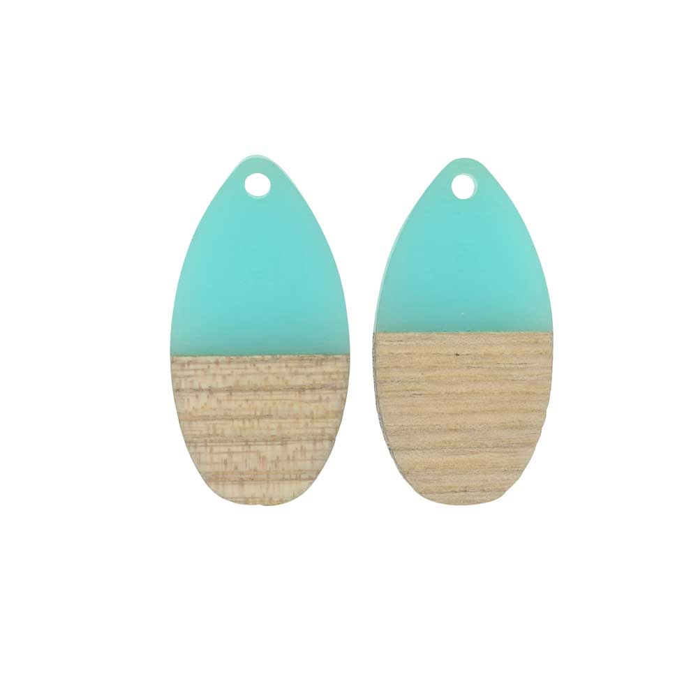 Zola Elements Wood & Resin Pendant, Teardrop 16x30.5mm, 2 Pieces, Sea Green
