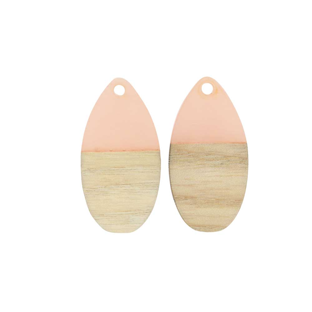 Zola Elements Wood & Resin Pendant, Teardrop 16x30.5mm, 2 Pieces, Transluscent Blossom Pink