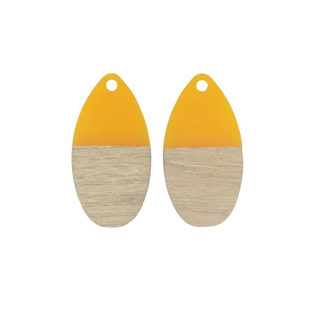 Zola Elements Wood & Resin Pendant, Teardrop 16x30.5mm, 2 Pieces, Saffron Yellow