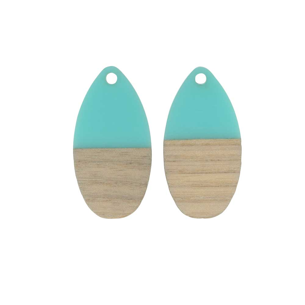 Zola Elements Wood & Resin Pendant, Teardrop 16x30.5mm, 2 Pieces, Turquoise