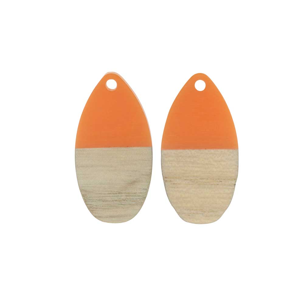 Zola Elements Wood & Resin Pendant, Teardrop 16x30.5mm, 2 Pieces, Tangerine Orange