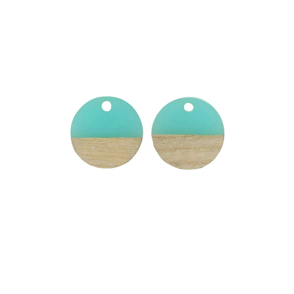 Zola Elements Wood & Resin Pendant, Coin 15mm, 2 Pieces, Sea Green