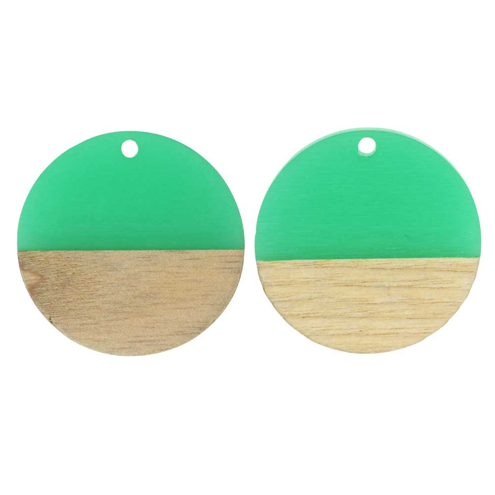 Zola Elements Wood & Resin Pendant, Coin 28mm, 2 Pieces, Emerald Green