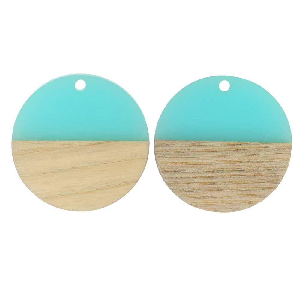Zola Elements Wood & Resin Pendant, Coin 28mm, 2 Pieces, Sea Green