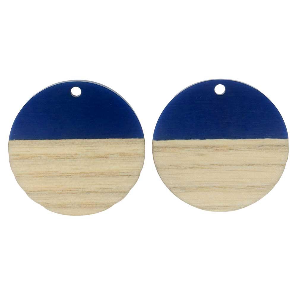 Zola Elements Wood & Resin Pendant, Coin 28mm, 2 Pieces, Indigo Blue