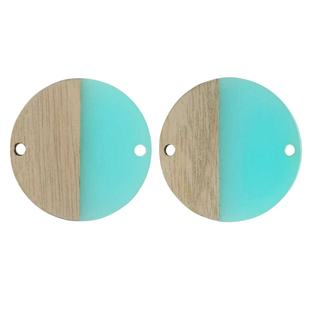Zola Elements Wood & Resin Connector Link, Coin 28mm, 2 Pieces, Sea Green