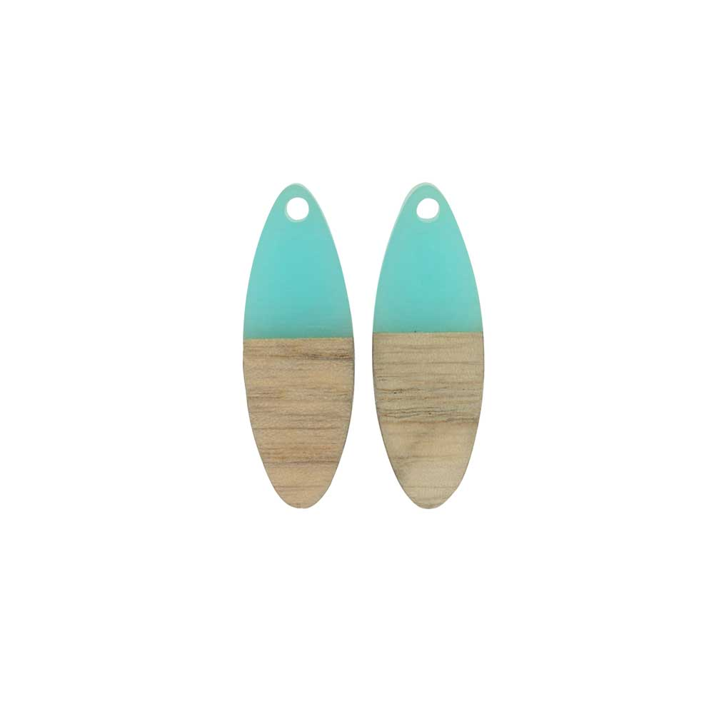 Zola Elements Wood & Resin Pendant, Oval 10x28mm, 2 Pieces, Sea Green