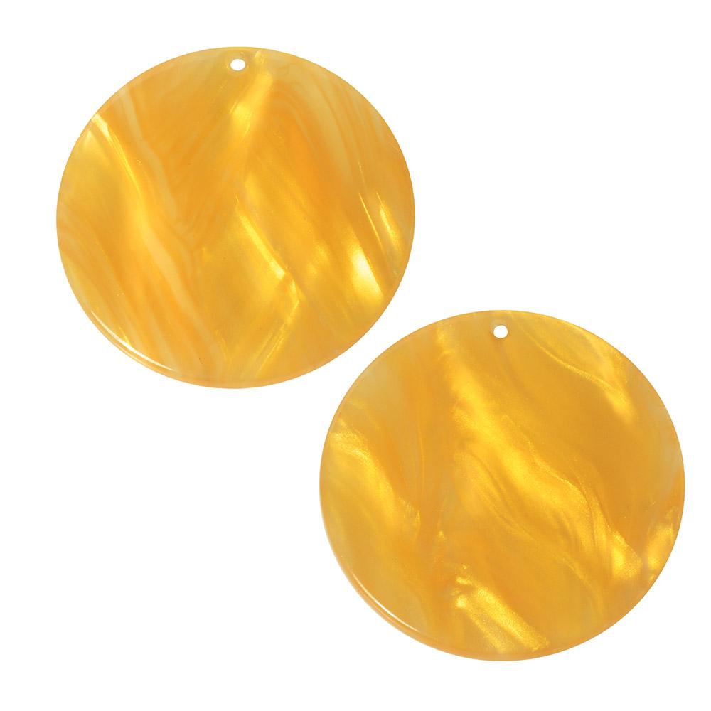 Zola Elements Acetate Pendant, Coin 30mm, 2 Pieces, Honeycomb