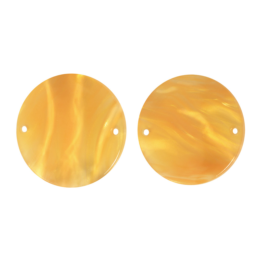 Zola Elements Acetate Connector Link, Coin 19.5mm, 2 Pieces, Honeycomb