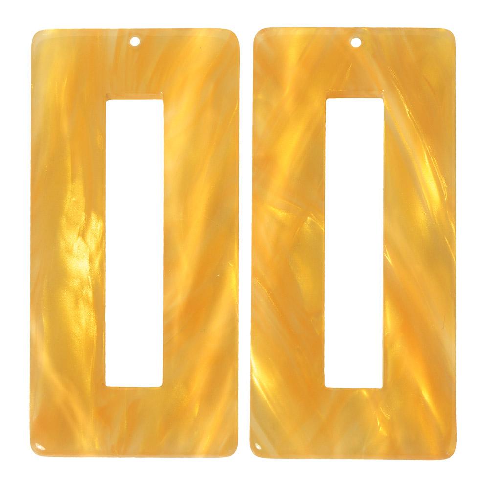 Zola Elements Acetate Pendant, Rectangle 22x49mm, 2 Pieces, Honeycomb