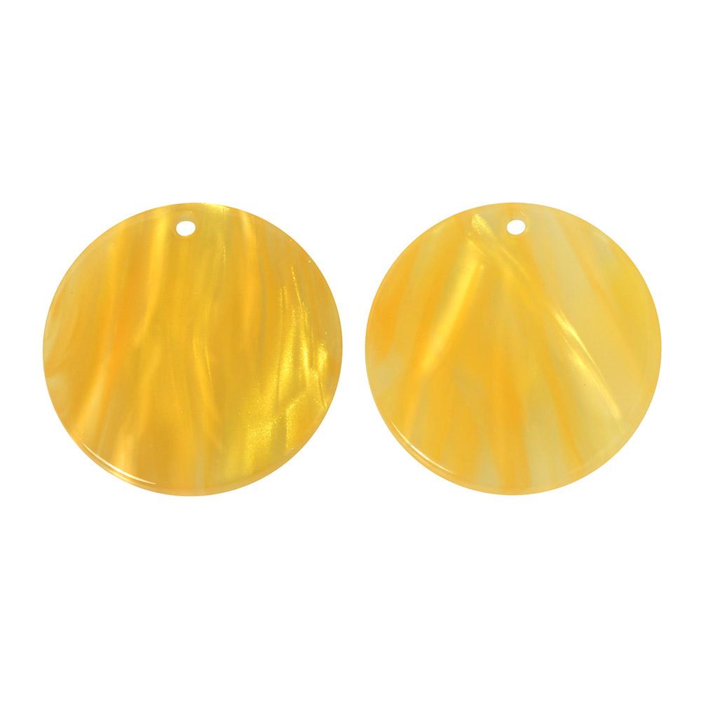 Zola Elements Acetate Pendant, Coin 20mm, 2 Pieces, Honeycomb