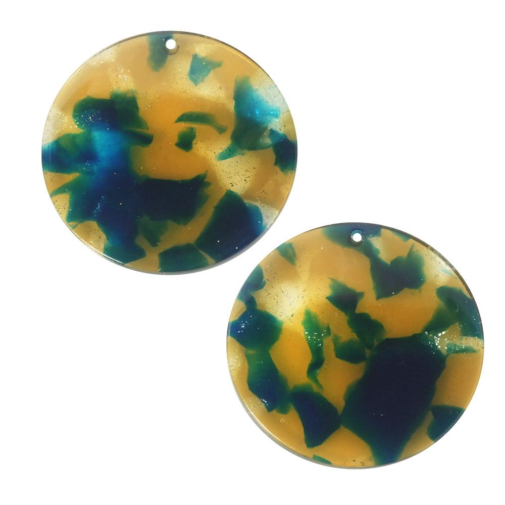 Zola Elements Acetate Pendant, Coin 30mm, 2 Pieces, Tide Pool