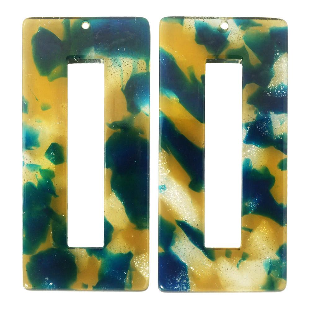 Zola Elements Acetate Pendant, Rectangle 22x49mm, 2 Pieces, Tide Pool