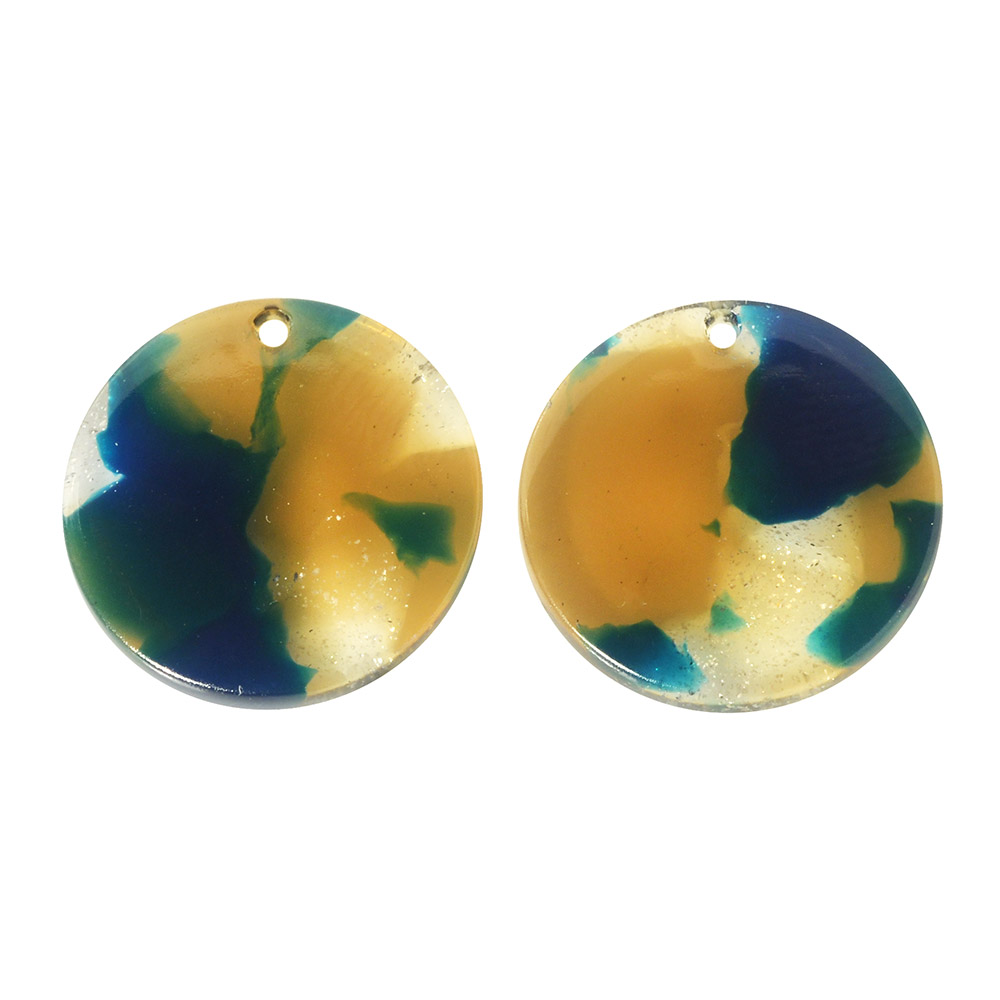 Zola Elements Acetate Pendant, Coin 20mm, 2 Pieces, Tide Pool