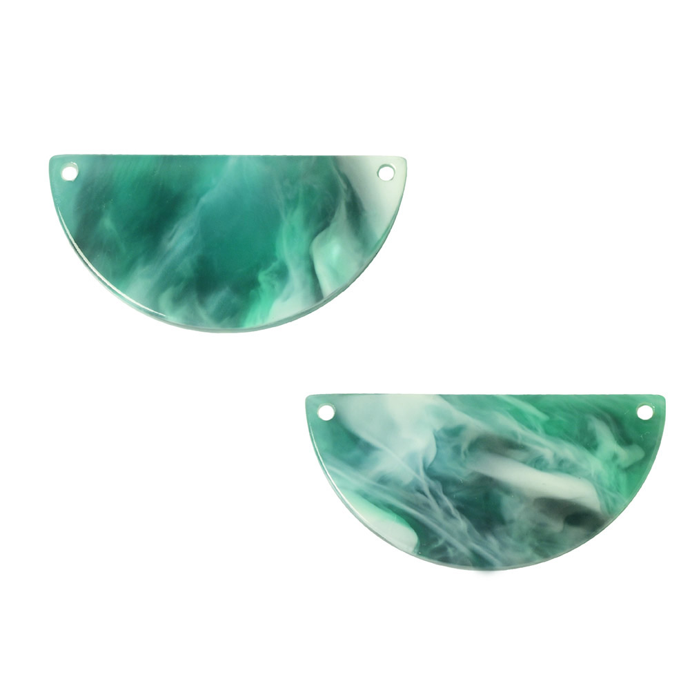 Zola Elements Acetate Connector Link, Half Circle 30x15mm, 2 Pieces, Emerald Marbled