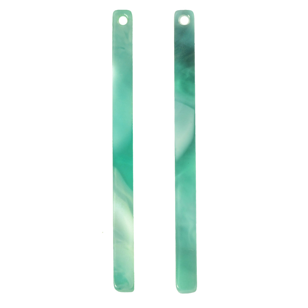 Zola Elements Acetate Pendant, Bar Drop 3x39mm, 2 Pieces, Emerald Marbled